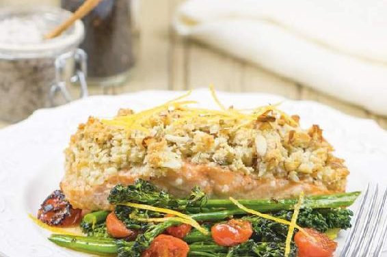 ALMOND & PARMESAN–CRUSTED BAKED SALMON