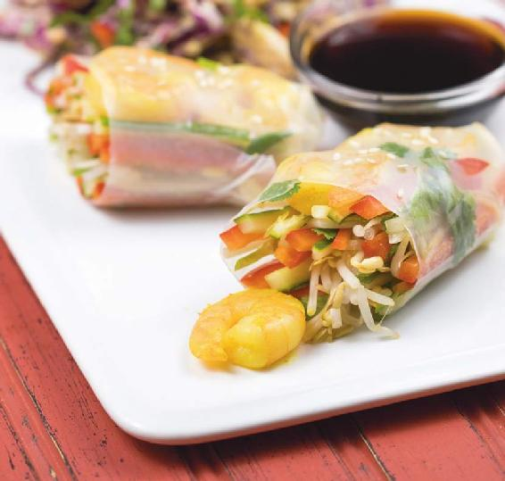 ASIAN-STYLE SHRIMP & VEGETABLE WRAPS