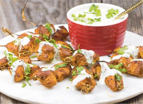 CHICKEN TIKKA SKEWERS WITH CILANTRO-LIME DIPPING SAUCE