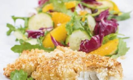 MACADAMIA-CRUSTED HALIBUT WITH ORANGE-SESAME SALAD