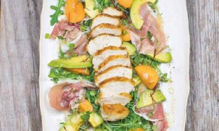PAN-ROASTED CHICKEN, AVOCADO, APRICOT & PROSCIUTTO SALAD