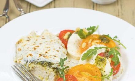 PESTO-MOZZARELLA CHICKEN WITH CAPRESE SALAD