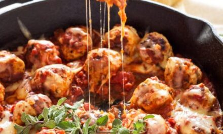 One-Pot Cheese- Stuffed Meatballs