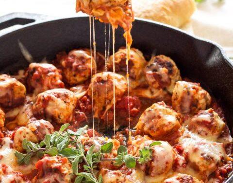 One-Pot Cheese- Stuffed Meatballs