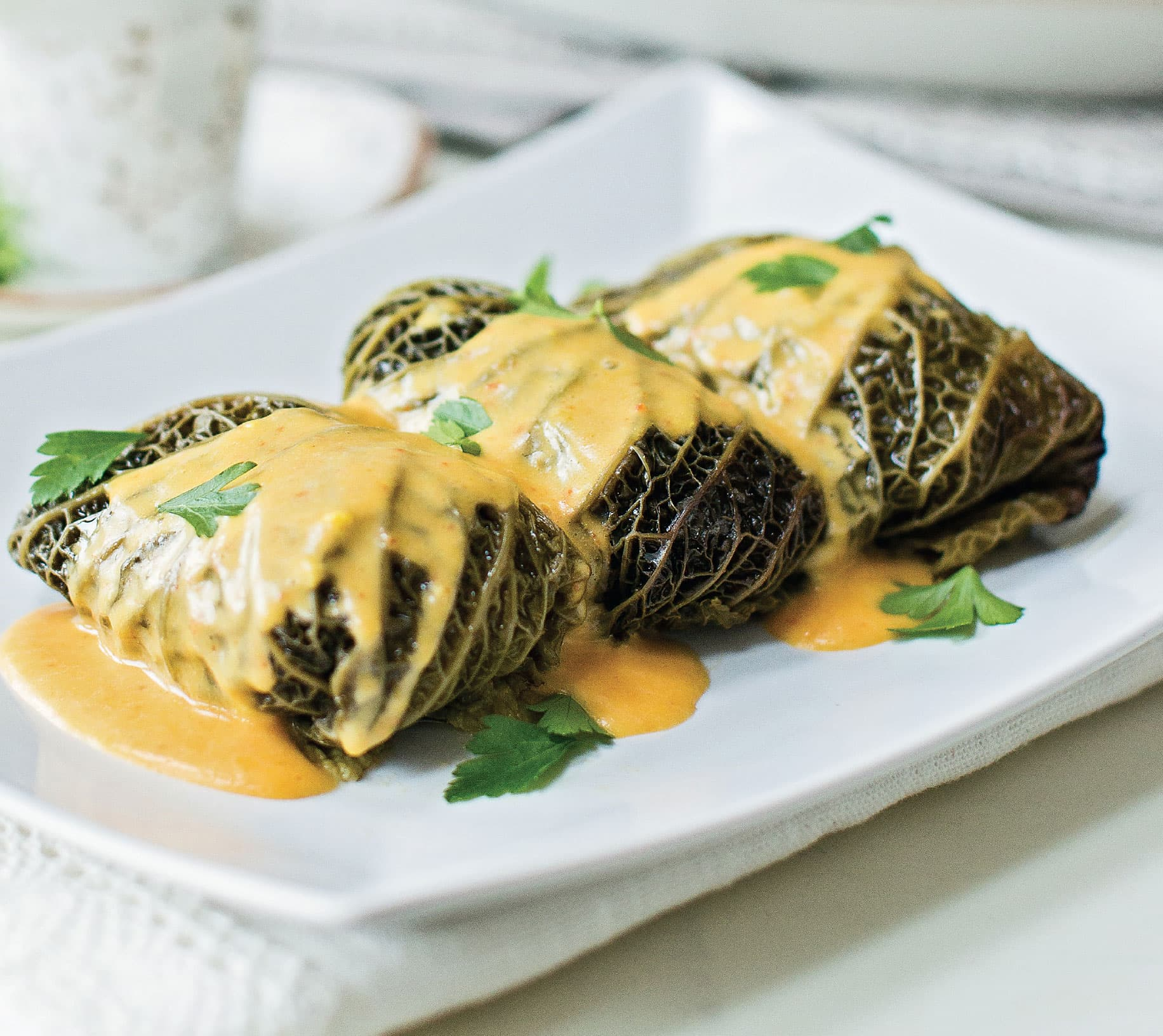 Stuffed Cabbage Rolls with Spicy Hollandaise