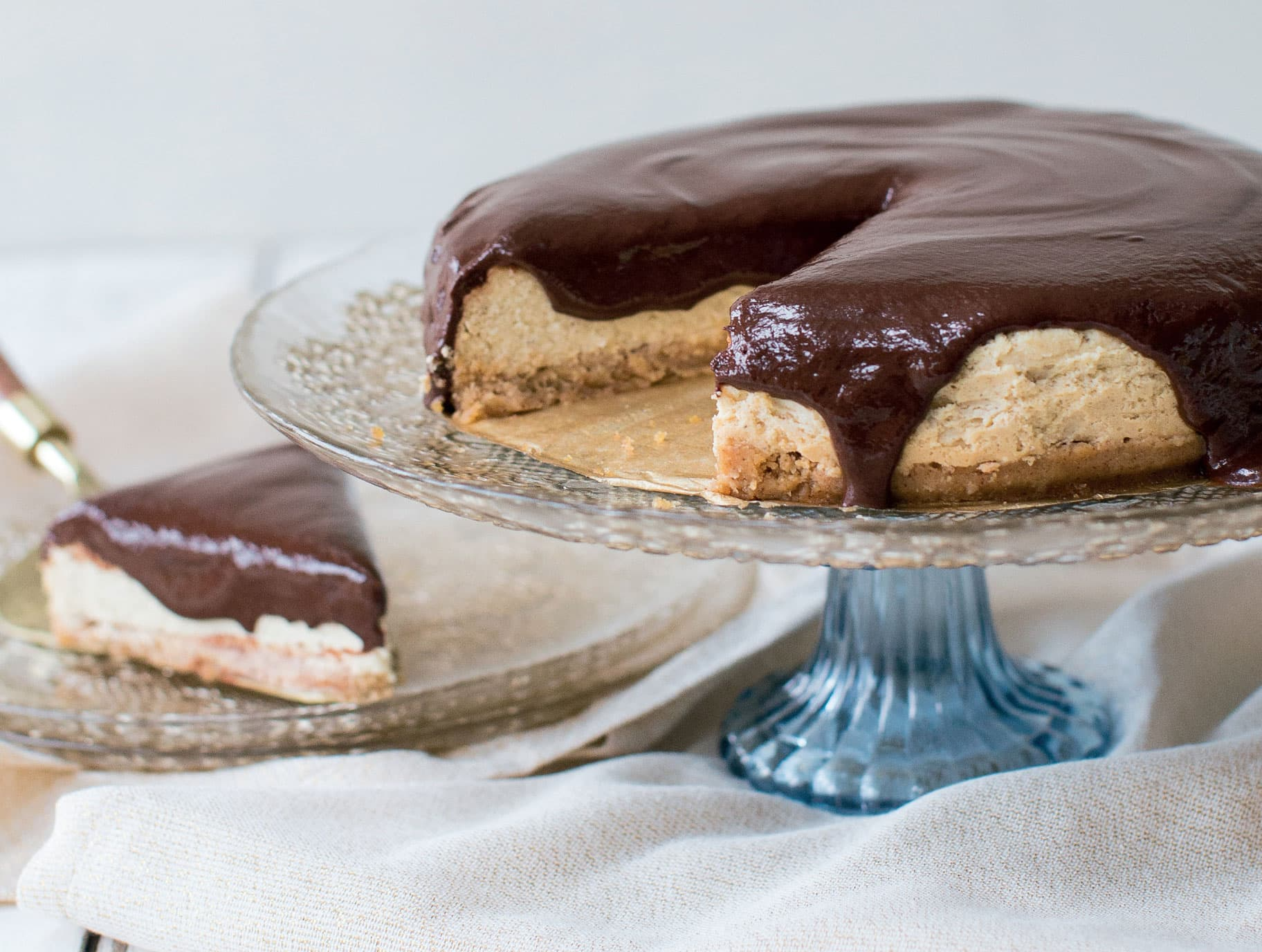 New York Cheesecake with Chocolate Ganache