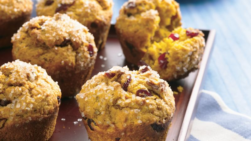 Pumpkin Muffins with Cranberries & Pecans