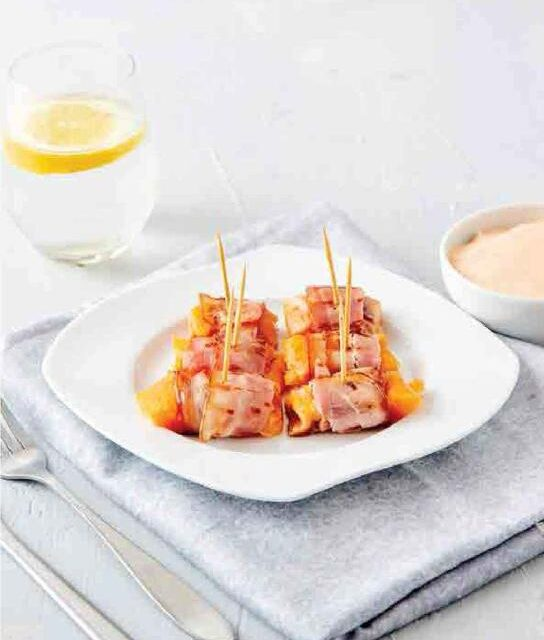 SALMON BACON ROLLS WITH DIPPING SAUCE