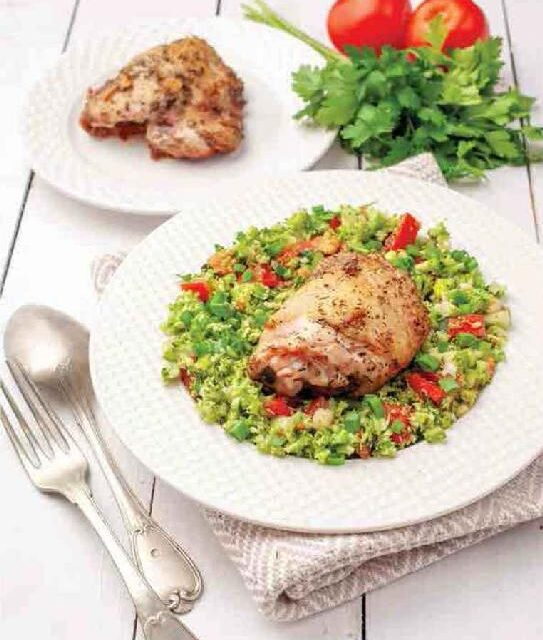 BROCCOLI TABBOULEH WITH GREEK CHICKEN THIGHS