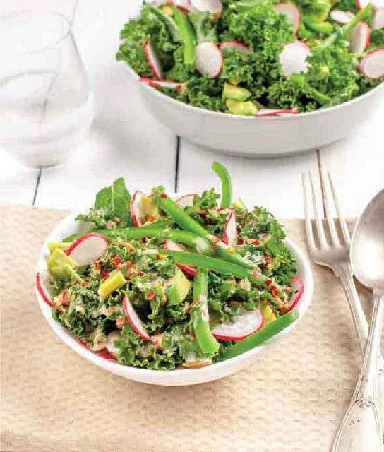 KALE SALAD WITH SPICY LIME-TAHINI DRESSING