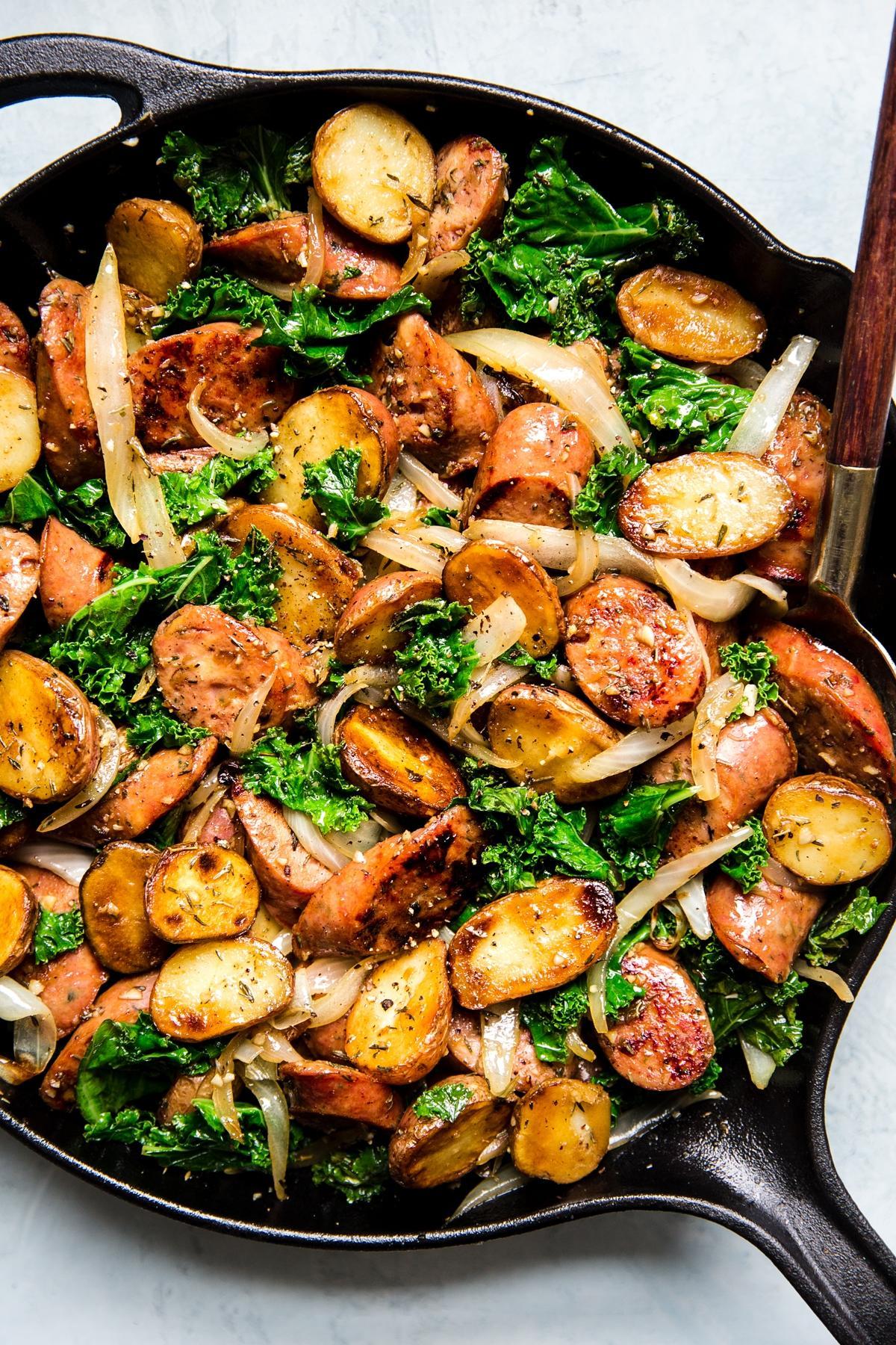 Spinach Sausage Stir Fry